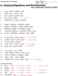 balancing equations worksheet 2 answers