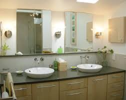 Attractive Bathroom Lighting Ideas: Double Sink Bathroom Vanity with Vessel  Sinks