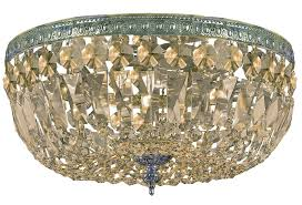 crystorama 3 light golden teak hand cut aged brass ceiling mount