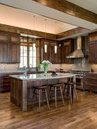 Large rustic kitchen photos - Large rustic u-shaped dark wood floor kitchen  idea in