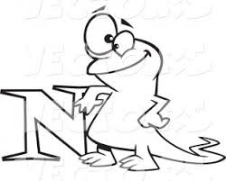 vector happy cartoon newt leaning the letter coloring page outline pages n nest for adult to print bubble free sheets printable preschool pictures with 311x250