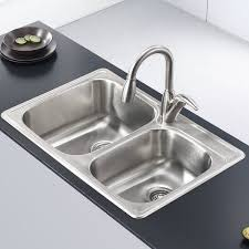 kraus stainless steel sinks. Delighful Kraus Kraus Stainless Steel 33 X 22 Double Basin DropIn Kitchen Sink With Sinks T