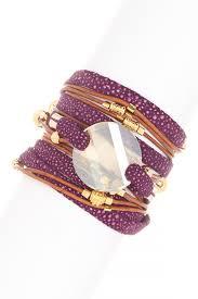 image of sara designs swarovski crystal pendant beaded leather wrap bracelet