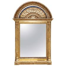 russian gilt and lapis arched wall mirror for
