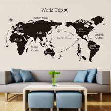 black world trip map vinyl wall stickers for kids room home decor office art decals 3d wallpaper living room bedroom decoration chandelier wall decal