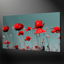 fanciful poppy wall art of red poppies metal bunch canvas stickers arresting