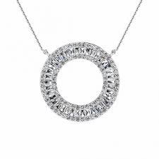 14k white gold arbor diamond circle tapered baguette pendant 1 1 4 ct