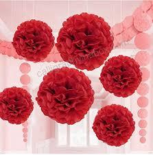 Diy Flower Balls Tissue Paper Valentine Red Tissue Paper Flower Pom Pom Balls 12 And 14