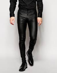 asos brand extreme super skinny jeans in leather look