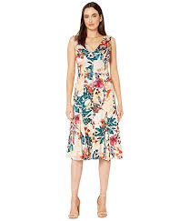 Maggy London Size Chart Shadow Branch Flower Printed Charmeuse Fit And Flare Dress