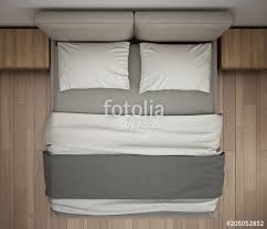 double bed top view. Modern Bedroom, Top View, Closeup On Double Gray And Cream Bed, Parquet Floor Bed View H