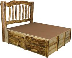 Beds with drawers Captains Rustic Log Bed With Drawers Underneath Woodland Creek Furniture Log Furniture Log Bed With Drawers Rustic Bed Cabin Decor