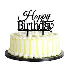 Amazoncom Palasasa Happy Birthday Cake Toppers Monogram Black