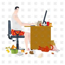 Free Freelancer Freelancer And Dirty Work Table Vector Illustration Of People