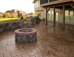 covered stamped concrete patio. Gable Covered And Screened EverGrain Deck, Stone Walls, Granite Countertop, Stamped  Concrete, Covered Stamped Concrete Patio