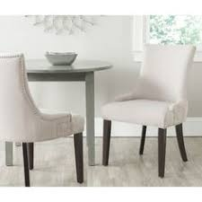 gretchen taupe linen fabric side chair set of 2 fabric dining