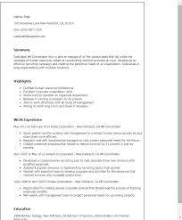 Hr Coordinator Cv Sample 1 Hr Coordinator Resume Templates Try Them Now