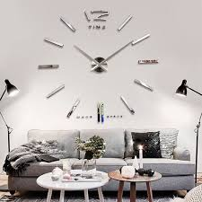 big large frameless wall clock kit 3d mirror decoration silver within clocks design 3