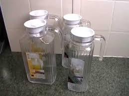 luminarc quadro glass fridge jug with lid 2l 1 7l 1 1 and 0 5l jars close look