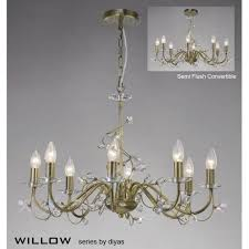 willow large 8 light antique brass chandelier with crystal decoration