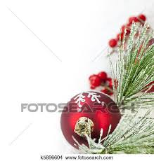christmas ornament border. Perfect Ornament Red Christmas Decoration With Pine Needles Copy Space On Ornament Border R