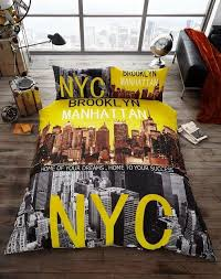 70 best New York Style Boys Bedroom Ideas images on Pinterest ... & Brooklyn duvet cover nyc new york city quilt cover bedding set yellow black  grey Adamdwight.com