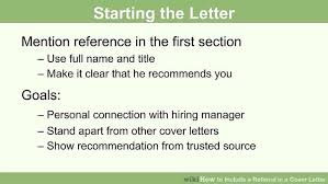 cover letter recommendation how to include a referral in a cover letter 15 steps