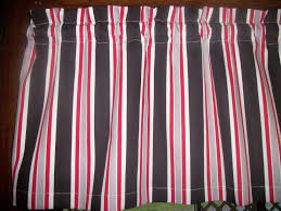 black white red gray striped stripes waverly fabric topper curtain valance handmade cottage