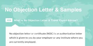 No Objection Letter For Visa Application And Sample Schengen Travel