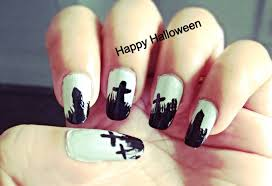 Graveyard design Easy Halloween Nail Art - YouTube