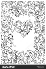Small Picture Decorative Love Heart With Flowers Valentines Day Card Coloring