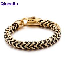 punk rock braided wrap leather men bracelet golden gold color stainless steel mens biker bracelets for