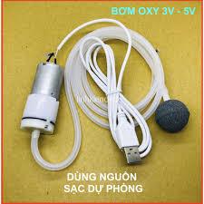 Bơm oxy mini chạy pin 3v - 6v kèm 1m ống đá sủi cáp USB dùng nguồn sạc dự  phòng giá cạnh tranh