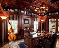 masculine office. Traditional Home Office Decorating Ideas For Men With Glaring Chandelier Above Wood Desk And Leather Swivel Masculine