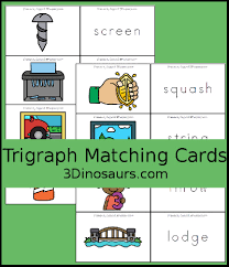 3 Dinosaurs Trigraph Matching Cards