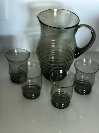 retro hand crafted vintage green glass water jug and 4 tumblers