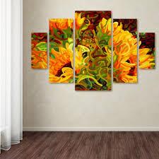 trademark fine art 40 in x 58 in four sunflowers by mandy