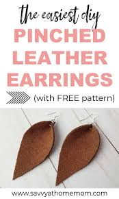 image of pinched teardrop leather earrings with text overlay the easiest diy pinched leather earrings
