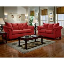affordable furniture sensations red brick sofa. Sensations Microfiber Pillow Back Sofa And Loveseat Set, Red - Free Shipping Today Overstock 17534218 Affordable Furniture Brick B