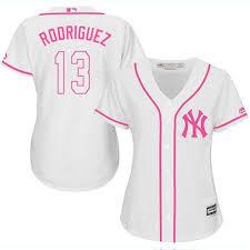 Stitched 13 Baseball Jersey Fashion Rodriguez Alex pink White Yankees Women's