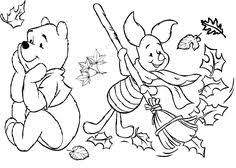 Small Picture Winnie the Pooh and Friends Fall Coloring Page Halloween