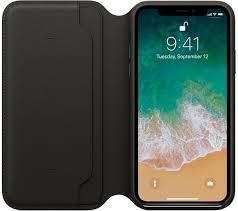 apple leather folio iphone x case black