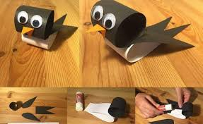 toilet paper roll black painted bird