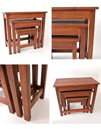 three steps of stacking table iron wood wooden table three points set tree north europe brown bench stool side table living wood stool nesting table vintage