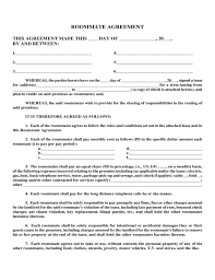 Roommate Agreement Form Template
