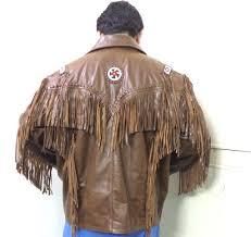 brown handmade western leather jacket