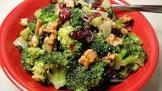 broccoli with nuts and cherries