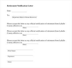 2 Retirement Notification Letter Templates Pdf Free
