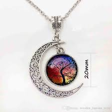 whole moon pendant necklace fashion vintage silver statement necklaces date glass tree of life cabochon necklace beautiful jewelry s20 emerald pendant