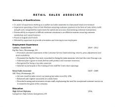 Retail Resume Description Resumes For Sales Associate Retail Resume Stock Examples Of